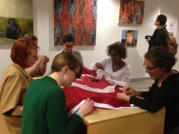 Opening night Embroidery Circle at FAC exhibit.